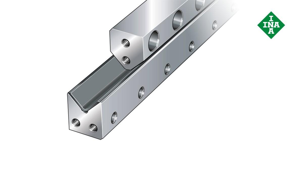 셰플러 리니어 가이드(linear guides): 플레인 슬라이딩 층이 있는 M 가이드웨이(M guideways with plain sliding layer)와 V 가이드웨이(V guideways)