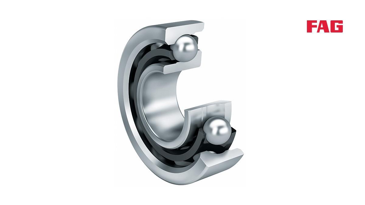 셰플러 구름 베어링과 플레인 베어링: 앵귤러 콘택트 볼 베어링 (Angular contact ball bearings)